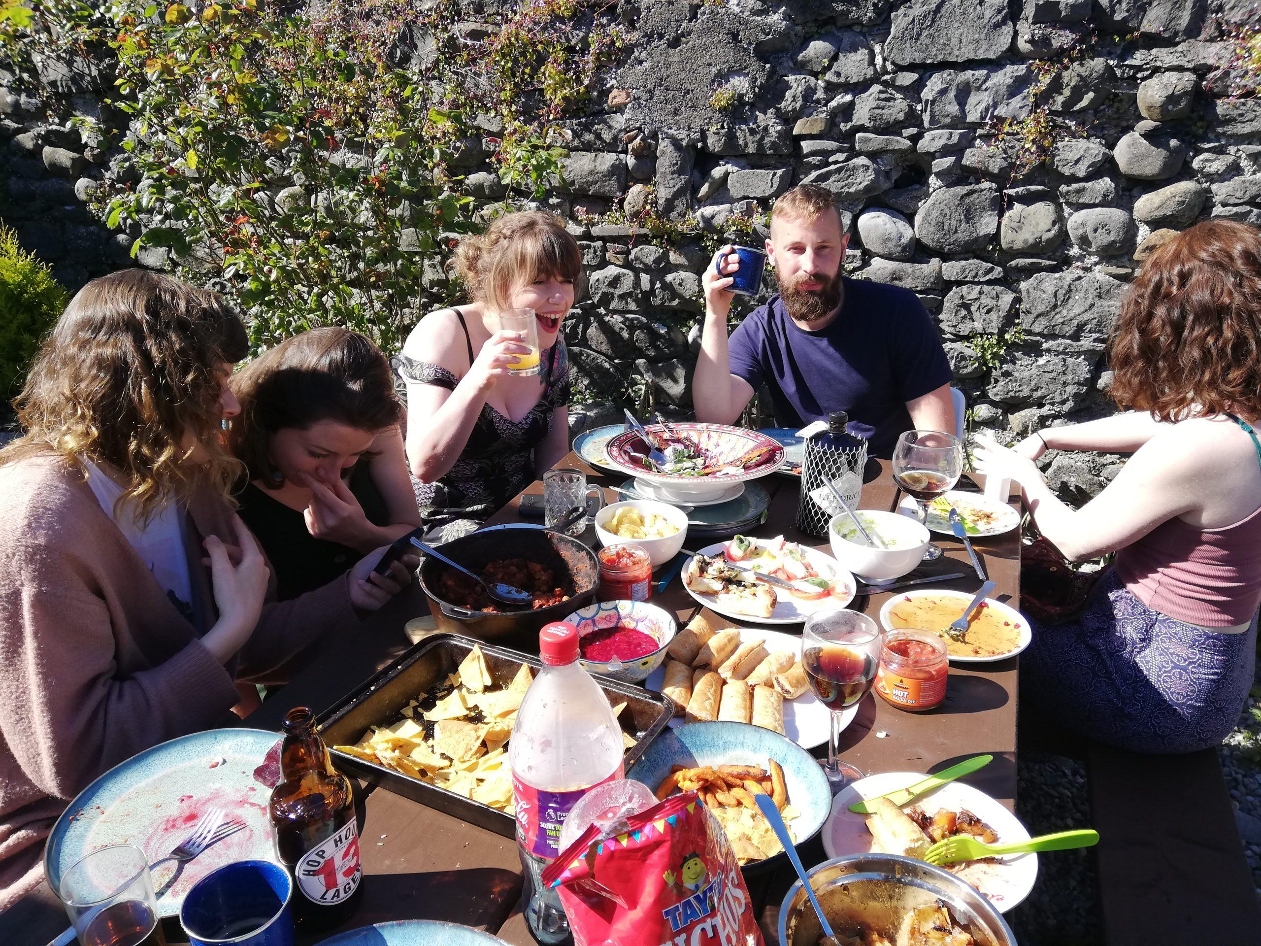 Crew enjoying a tasty picnic!