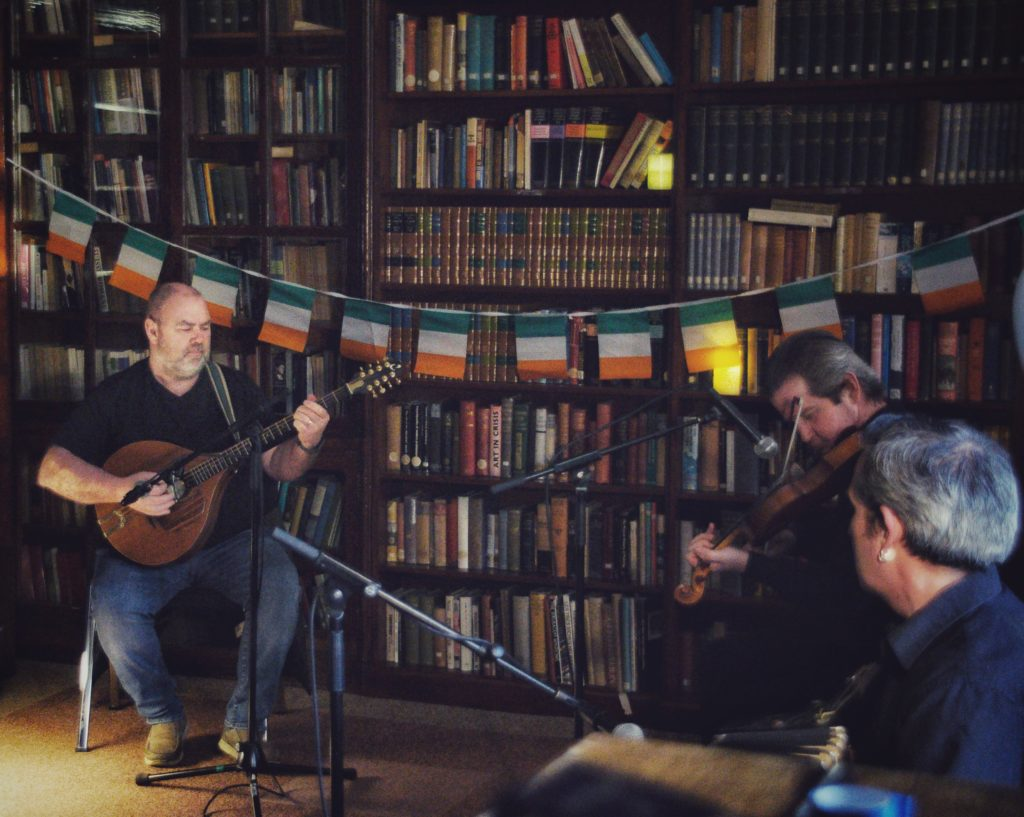 Picture of a band performing in a library